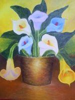 Calas bodegón  Inspirada en las flores de invierno chileno las que surgen como el anuncio que ya comienza la primavera.
