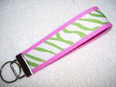 KEY FOBWrist Key ChainPreppy Lime Green by PinkPinsandNeedles, $6.00
