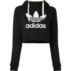 Adidas logo cropped hoodie (265 BRL) ❤ liked on Polyvore featuring tops, hoodies, shirts, black, logo shirts, long sleeve hooded sweatshirt, long-sleeve shirt, hoodie crop top and cropped hooded sweatshirt