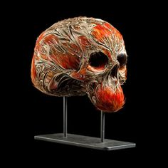 Incredible feather skull sculpture by Laurence Le Constant