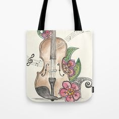 Violin and Flowers by Annie Mason watercolor, art, painting, ink, illustration, violins, flower, still life, music, musical notes, instruments, pink, red, green leaves, concert, viola, tote bag, accessories,  society6