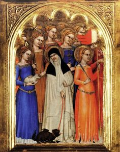 For the decorated skirt hems - Giovanni da Milano, Coro delle Vergini (Uffizi, Firenze, 1360-1365)