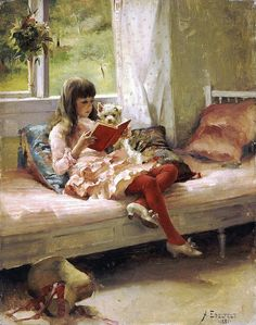 Albert Edelfelt, Young Girl Reading with Pet Dog