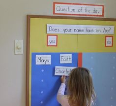 Letter Sound Activities, Letter Activities, Preschool Activities, Back To School Displays, Name Practice, Preschool Names, Classroom Organisation, Question Of The Day, Beginning Of School