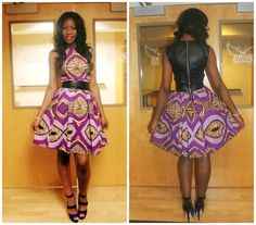 ChiChi Loves - Self designed ankara dress with faux leather details