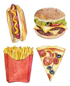 Laura manfre bestpins i 2019 food drawing, food painting och Watercolor Food, Watercolor Illustration, Cupcake Illustration, Food Sketch, Food Painting, Food Drawing, Hot Dog Drawing, Drawing Drawing, Mets