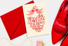 Valentine's day card kissing birds by Romantic shop on Creative Market