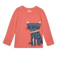 bluezoo Girls' orange applique cat sweater | Debenhams