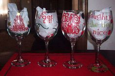 Christmas Decor Wine Glasses by ScrapsationalHybrid on Etsy, $16.00