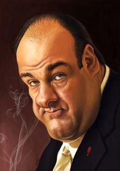 "El actor James Gandolfini interpretando a Tony Soprano, caricaturizado por el artista Kike ""Ki..."