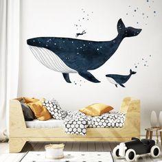 Whale Nursery, Ocean Nursery, Nursery Room, Kids Bedroom, Child's Room, Dark Nursery, Bedroom Wall, Kids Room Wall Stickers, Nursery Wall Decals