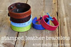Super easy and inexpensive: hand stamped leather bracelets. For friendship bracelets, party favors, mother's day gifts etc. #diy #tutorial # supplies