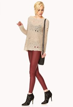 Free Spirit Sweater | FOREVER21 Boho chic #OOTD #Distressed #OpenKnit