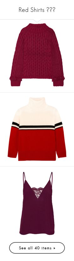 """""""Red Shirts 👕❤️"""" by izzystarsparkle ❤ liked on Polyvore featuring tops, sweaters, burgundy, burgundy cable knit sweater, cable crew sweater, loose sweaters, burgundy sweater, fringe sweaters, turtleneck and black"""
