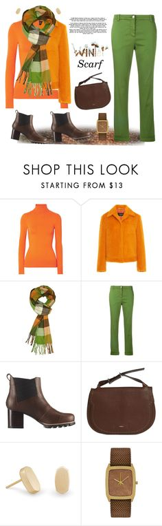 """""""Wrapper's Delight: Winter Scarf"""" by krusie ❤ liked on Polyvore featuring JoosTricot, MARC CAIN, SOREL, Furla, Kendra Scott and contestentry"""