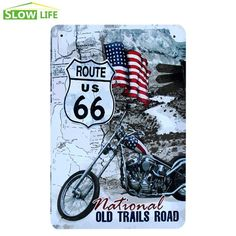 Vintage US Route 66 Wall Decor Metal Sign