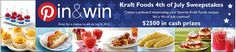 Pin & Win 4th of July Sweepstakes! Enter for a chance to win $2500 in cash prizes #kraftrecipes