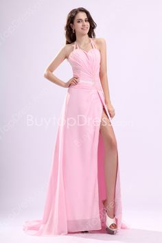 Delicate Top Halter Pink Chiffon A-line Full Length Marine Ball Dresses Front Slit at buytopdress.comFashionable One Shoulder Royal Blue Organza Mermaid Marine Ball Dresses