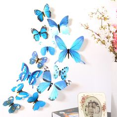 Wall Stickers 12pcs 3D Butterfly Rainbow (6 colors)