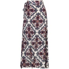 Multicolor Geo Pattern High-low Wrap Skirt (65 CAD) ❤ liked on Polyvore featuring skirts, dip hem skirt, colorful skirts, short front long back skirt, wrap skirt and hi lo skirt