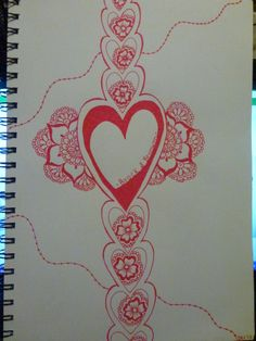 Was missing my boyfriend and drew this. Used red felt tip pen, size A4