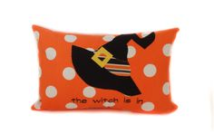 Halloween pillow cover, 12x18, Witch pillow, Outdoor pillow, Orange outdoor pillow cover, Halloween decor, Decorative pillows, Ready to ship by PillowCorner on Etsy