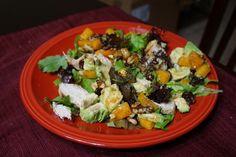 Chicken, butternut squash and cherry salad