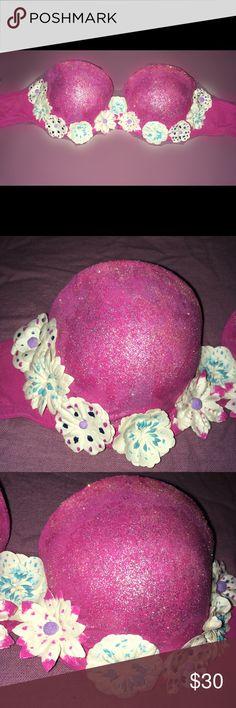 Hand Decorated - Rave Bra Hand Decorated by etsy shop @customdazzled Flower Girl Rave Bra. Intimates & Sleepwear Bras