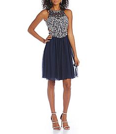 Glamour by Terani Couture Beaded HighNeck Short Dress #Dillards