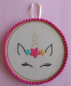 Embroidered Frame Picture - Modern Unicorn 16 cm at Embroidery Hoop Decor, Hand Embroidery Patterns Free, Hand Embroidery Videos, Hand Embroidery Flowers, Baby Embroidery, Flower Embroidery Designs, Creative Embroidery, Embroidery Stitches Tutorial, Simple Embroidery