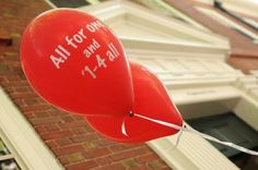 """All for one and 1-4 all"" - Harvard Class of 2014 moves into Harvard Yard. What a great idea for a graduation party!"