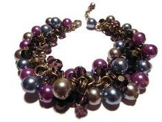 Purple Beaded bracelet cluster bracelet by AutomatedButterfly,