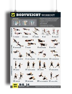 It takes more than Just push-ups and pull-ups to get and stay in shape. This exercise and Bodyweight Workout Poster is a must have for at-home workouts, gym or health club. The Exercises illustrated i