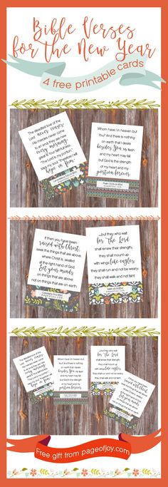 Gorgeous free Bible verse printable cards will inspire your new years resolutions this year! Discover renewed joy in the Lord through His Word. Scripture cards are free printables, a gift from Page of Joy! Happy New Year!