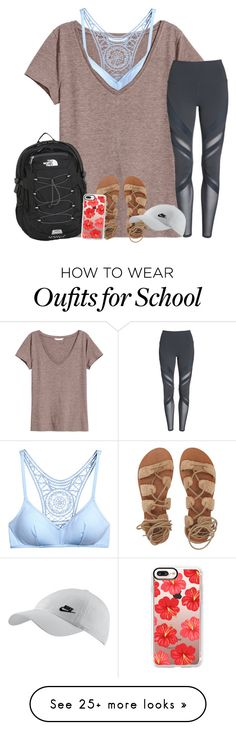 """First day of school Wednesday! "" by dejonggirls on Polyvore featuring H&M, Alo, The North Face, Billabong, Casetify and NIKE"