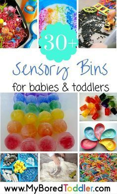 Sensory play for babies and toddlers is so important. If you are looking for sensory play ideas for toddlers and babies, then you'll love our collection of over 30 sensory bins. A great toddler activity!