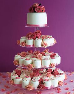 """Cupcake wedding cakes are a great alternative to traditional wedding cakes. These wedding """"cakes"""" are really just cupcakes displayed on cup. Mini Wedding Cakes, Wedding Cakes With Cupcakes, Wedding Desserts, Mini Cakes, Cupcake Cakes, Cupcake Wedding, Fondant Cupcakes, Beautiful Wedding Cakes, Beautiful Cakes"""