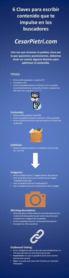 http://www.cesarpietri.com/inforgrafia-6-claves-para-escribir-contenido-que-te-impulse-en-los-buscadores/ escribir para seo - infografía
