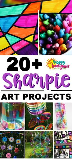 Check out these creative ways to use Sharpie Markers! So many fun and cool things for all ages of kids to make! Custom art ideas, homemade gifts, garden ornaments and more! Crafts Sharpie Art Projects for Kids - Happy Hooligans Sharpie Art Projects, Sharpie Crafts, Sharpie Markers, Cool Art Projects, Arts And Crafts Projects, Sharpies, Marker Crafts, Arts And Crafts For Adults, Crafts For Teens To Make