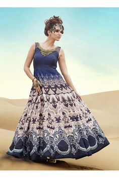 0f98b7201ea011 Ready-Made Multi-Colour Pure Bhgalpuri Gown - 16889. Velvet GownSilk  GownSatin GownParty GownsParty Wear ...