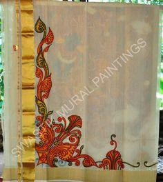 .. Indian Traditional Paintings, Indian Paintings, Art Paintings, Acrylic Paint On Fabric, Fabric Painting, Saree Painting Designs, Mural Art, Murals, Kerala Mural Painting