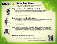 A basic reference guide to the DevaCurl Method of Styling for all you Curly Girls and Guys. When you come in for your first DevaCurl experience, you get a full lesson on how to do the process at home, but it can be a lot steps to remember. Curly Hair Routine, Curly Hair Tips, Curly Hair Care, Wavy Hair, Curly Hair Styles, Natural Hair Styles, Diy Hair Care, Hair Care Tips, Curly Girl Method