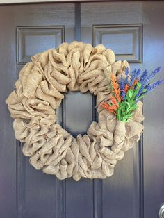 How to make a burlap wreath.  Good tutorial.  Clear step by step directions with plenty of photos.