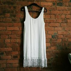 Gatsby dress Beaded white fringe dress, perfect for dancing, 1920's or flapper parties, or special occasions Dresses Mini
