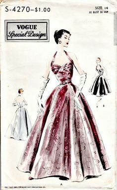 1950's Retro Evening Dress Pattern  VOGUE by ShellMakeYouFlip, $145.00