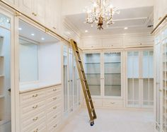 Rolling ladder to access all those items stored up high... Definitely my Dream closet for my Dream House xxxxxx