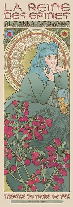 Les filles de Game of Thrones dans le style Art Nouveau : Olenna Tyrell