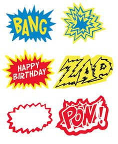 Great printables for super hero party. by MaryAnnK Comic Book Super Heroes Party For more party ideas visit: www. Batman Birthday, Batman Party, Superhero Birthday Party, 4th Birthday Parties, Boy Birthday, Birthday Ideas, Superhero Classroom, Classroom Decor, Superhero Labels