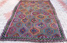 "VINTAGE Wool Rug - Turkish decorative kilim, 68""X120"", Bohemian Home Decor, Antique kilim rug, Delivered within2-4 Days by DHL"