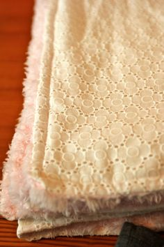 Eyelet lace and pink minky blanket. Perfect Valentine gift for baby girl!